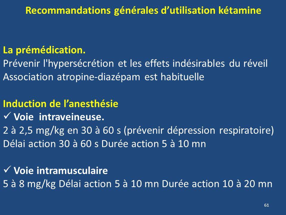 61 Recommandations générales dutilisation kétamine La prémédication. Prévenir l'hypersécrétion et les effets indésirables du réveil Association atropi