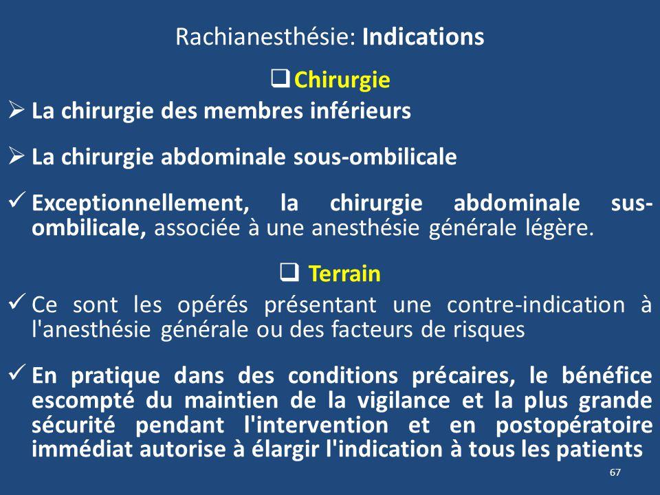 67 Rachianesthésie: Indications Chirurgie La chirurgie des membres inférieurs La chirurgie abdominale sous-ombilicale Exceptionnellement, la chirurgie