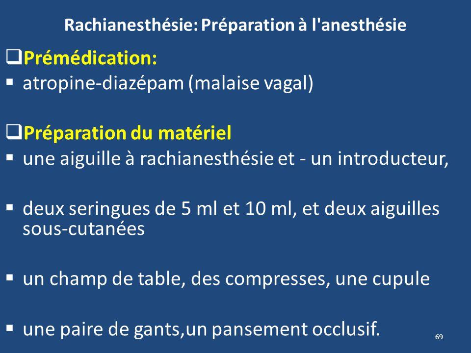 69 Rachianesthésie: Préparation à l'anesthésie Prémédication: atropine-diazépam (malaise vagal) Préparation du matériel une aiguille à rachianesthésie