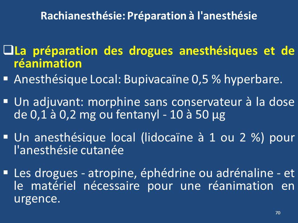 70 Rachianesthésie: Préparation à l'anesthésie La préparation des drogues anesthésiques et de réanimation Anesthésique Local: Bupivacaïne 0,5 % hyperb
