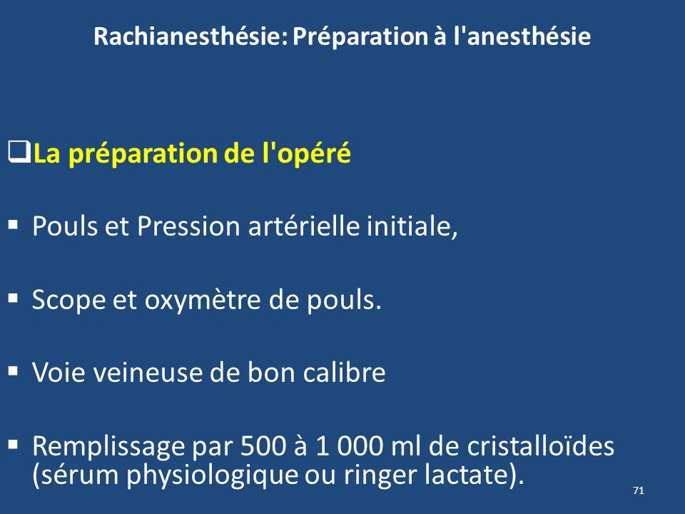 71 Rachianesthésie: Préparation à l'anesthésie La préparation de l'opéré Pouls et Pression artérielle initiale, Scope et oxymètre de pouls. Voie veine