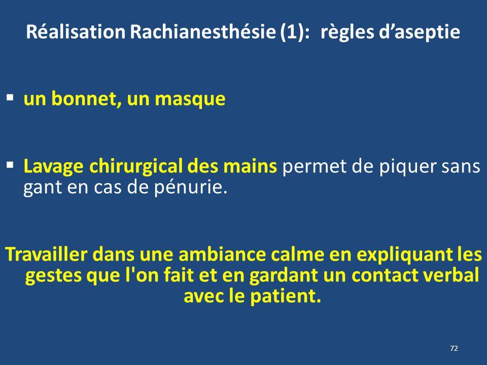 72 Réalisation Rachianesthésie (1): règles daseptie un bonnet, un masque Lavage chirurgical des mains permet de piquer sans gant en cas de pénurie. Tr