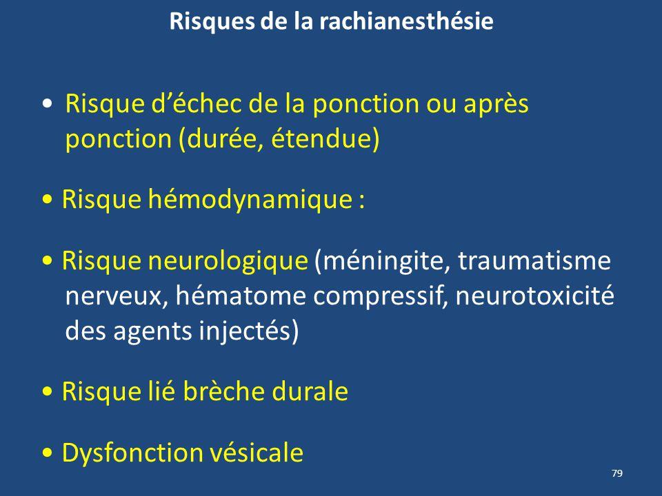 79 Risques de la rachianesthésie Risque déchec de la ponction ou après ponction (durée, étendue) Risque hémodynamique : Risque neurologique (méningite