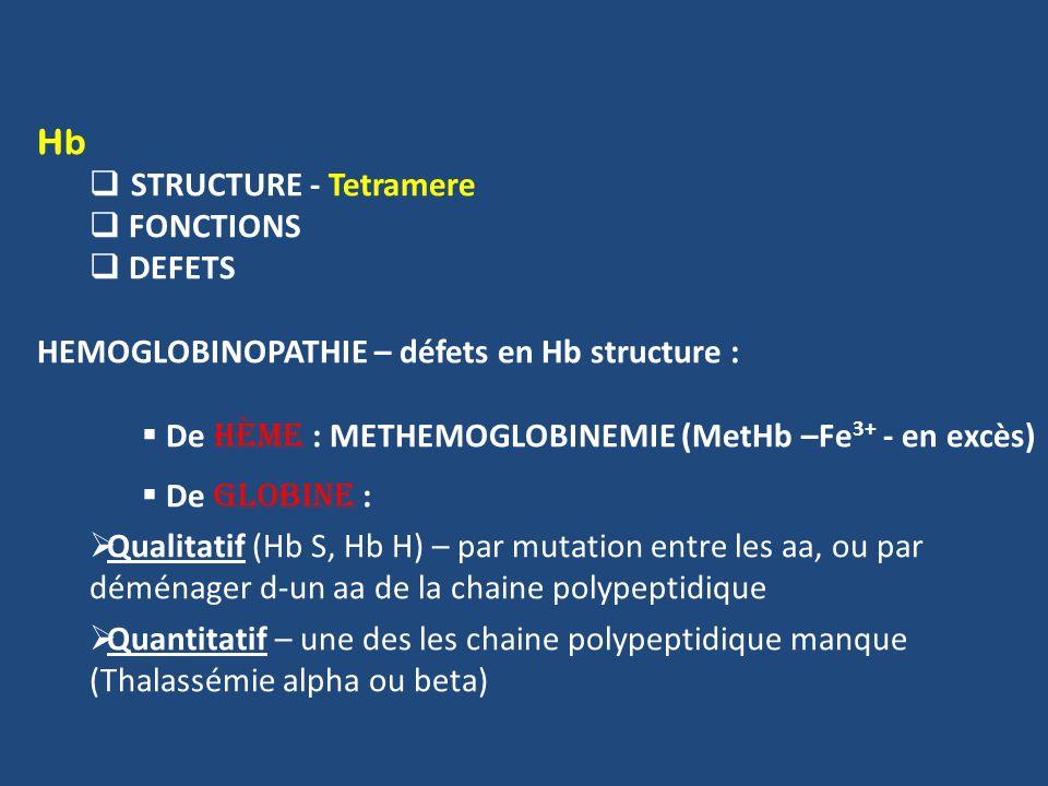 Hb STRUCTURE - Tetramere FONCTIONS DEFETS HEMOGLOBINOPATHIE – défets en Hb structure : De hème : METHEMOGLOBINEMIE (MetHb –Fe 3+ - en excès) De globine : Qualitatif (Hb S, Hb H) – par mutation entre les aa, ou par déménager d-un aa de la chaine polypeptidique Quantitatif – une des les chaine polypeptidique manque (Thalassémie alpha ou beta)