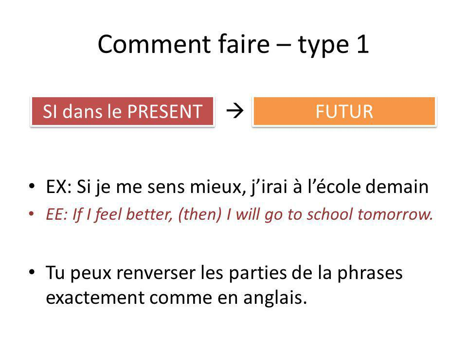 Comment faire – type 1 EX: Si je me sens mieux, jirai à lécole demain EE: If I feel better, (then) I will go to school tomorrow. Tu peux renverser les