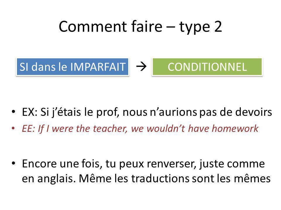 Comment faire – type 2 EX: Si jétais le prof, nous naurions pas de devoirs EE: If I were the teacher, we wouldnt have homework Encore une fois, tu peu