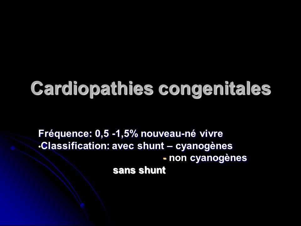 Cardiopathies congenitales Fréquence: 0,5 -1,5% nouveau-né vivre Classification: avec shunt – cyanogènes Classification: avec shunt – cyanogènes - cya