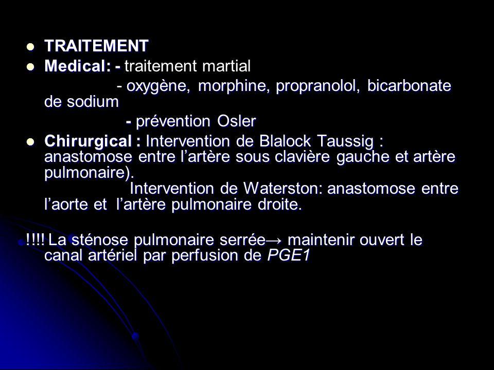 TRAITEMENT TRAITEMENT Medical: - Medical: - traitement martial oxygène, morphine, propranolol, bicarbonate de sodium - oxygène, morphine, propranolol,