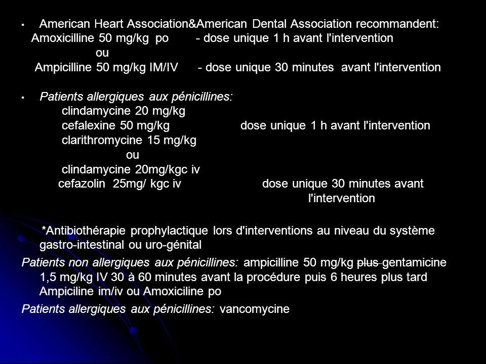 American Heart Association&American Dental Association recommandent: Amoxicilline 50 mg/kg po - dose unique 1 h avant l'intervention ou Ampicilline 50