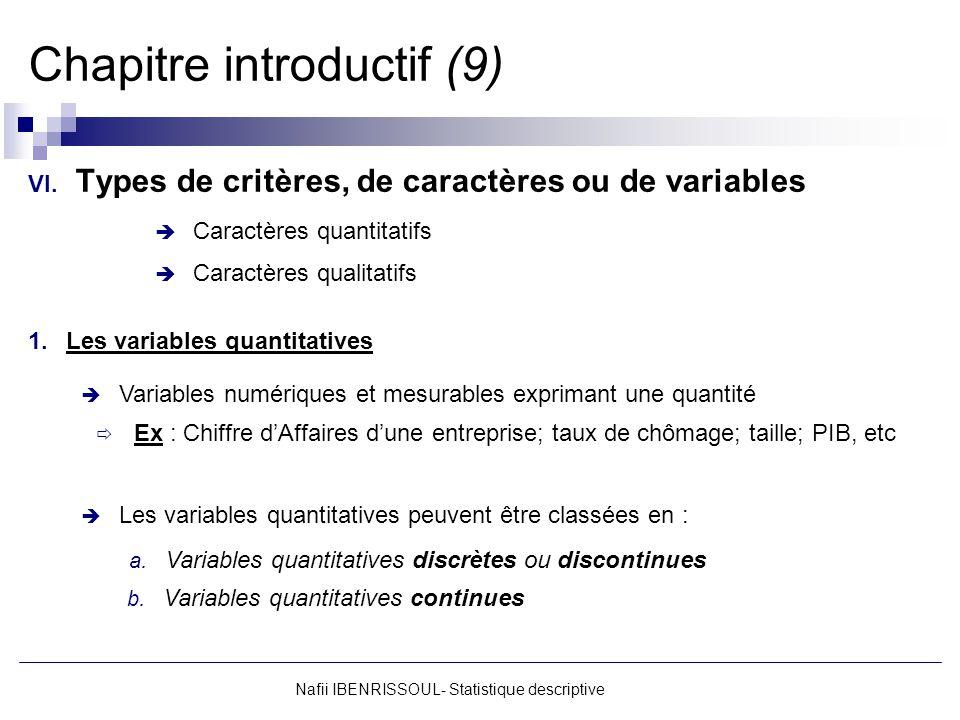 Nafii IBENRISSOUL- Statistique descriptive Chapitre introductif (9) VI. Types de critères, de caractères ou de variables Caractères quantitatifs Carac