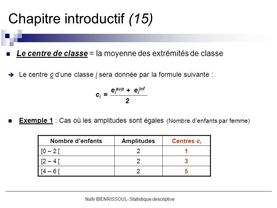 Nafii IBENRISSOUL- Statistique descriptive Chapitre introductif (15) Le centre de classe = la moyenne des extrémités de classe Le centre c dune classe