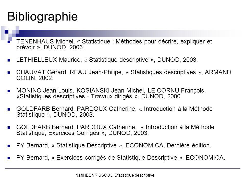Bibliographie TENENHAUS Michel, « Statistique : Méthodes pour décrire, expliquer et prévoir », DUNOD, 2006. LETHIELLEUX Maurice, « Statistique descrip