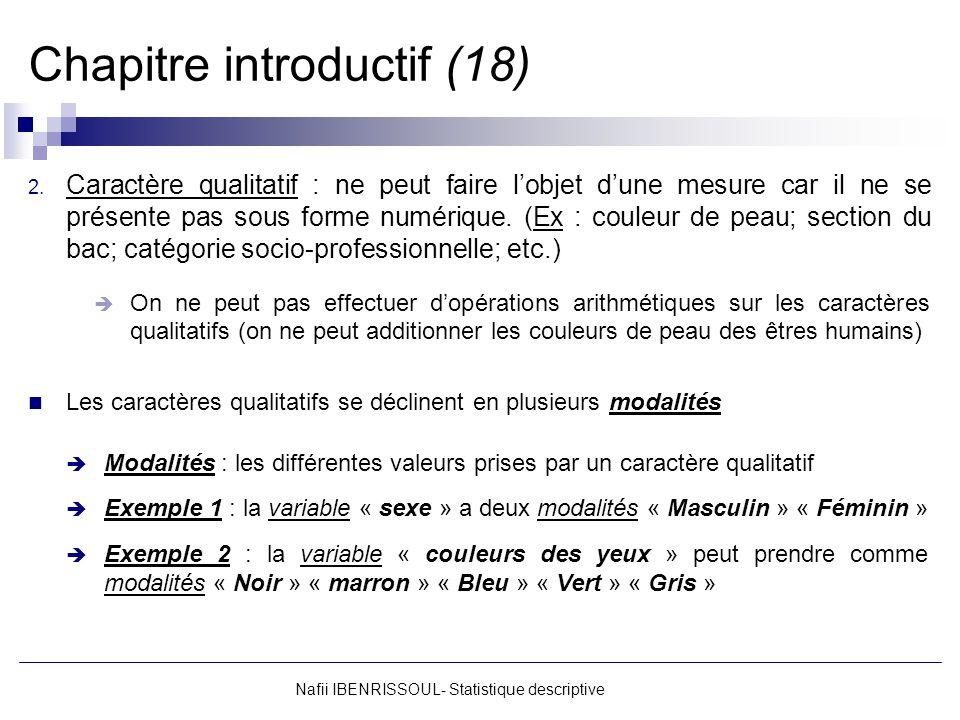 Nafii IBENRISSOUL- Statistique descriptive Chapitre introductif (18) 2. Caractère qualitatif : ne peut faire lobjet dune mesure car il ne se présente