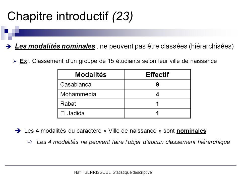Nafii IBENRISSOUL- Statistique descriptive Chapitre introductif (23) Les modalités nominales : ne peuvent pas être classées (hiérarchisées) Ex : Class