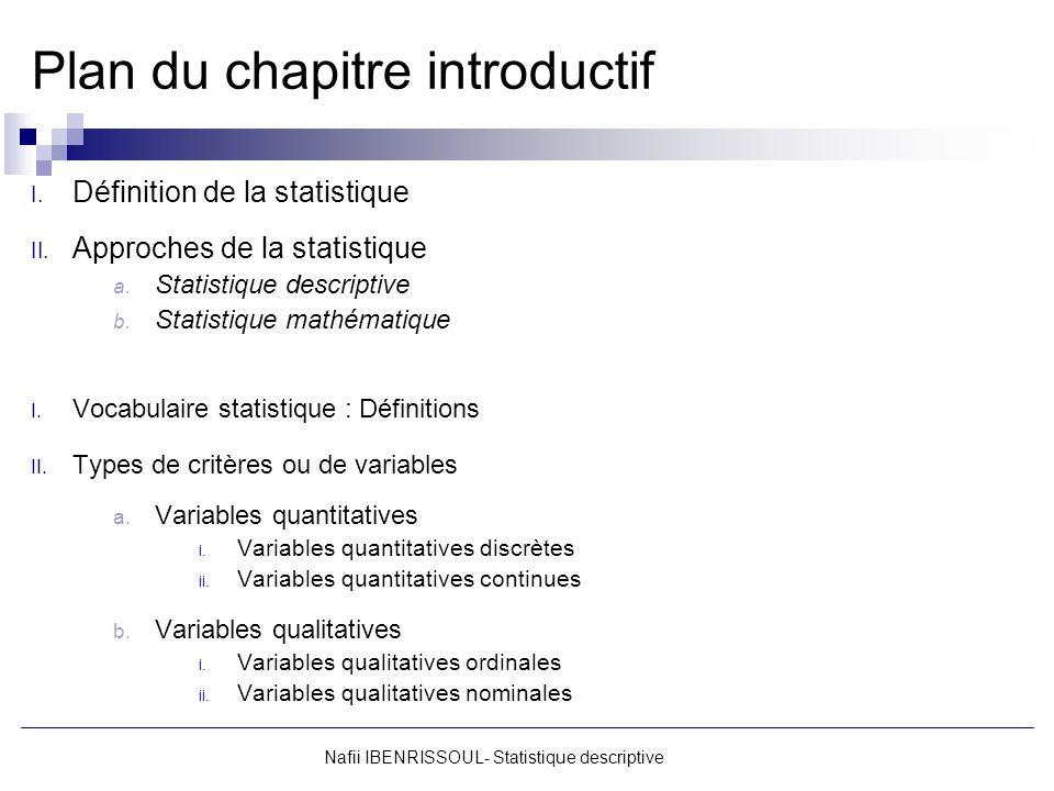 Plan du chapitre introductif I. Définition de la statistique II. Approches de la statistique a. Statistique descriptive b. Statistique mathématique I.
