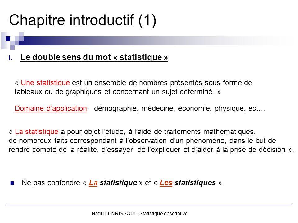 Chapitre introductif (1) I. Le double sens du mot « statistique » Nafii IBENRISSOUL- Statistique descriptive « Une statistique est un ensemble de nomb