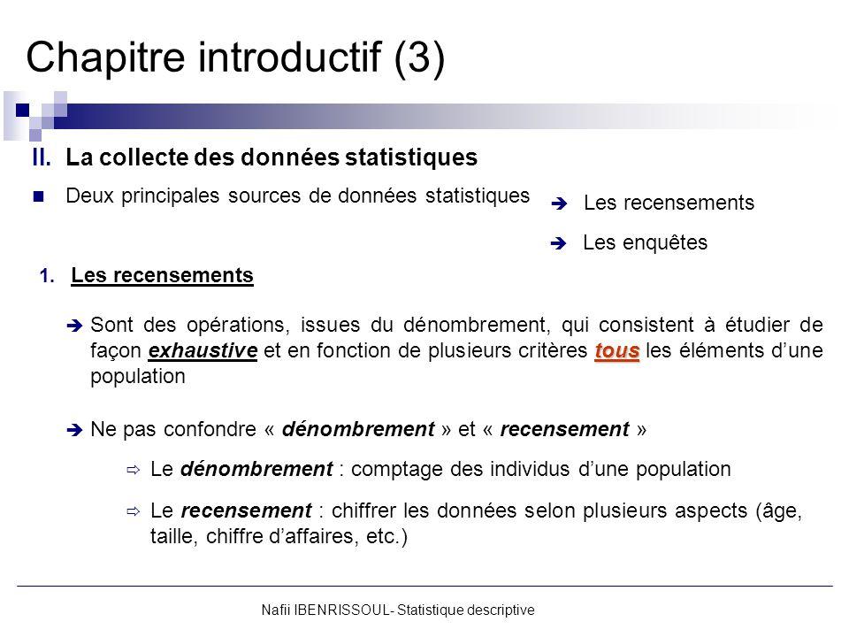Chapitre introductif (3) Nafii IBENRISSOUL- Statistique descriptive II.La collecte des données statistiques Deux principales sources de données statis