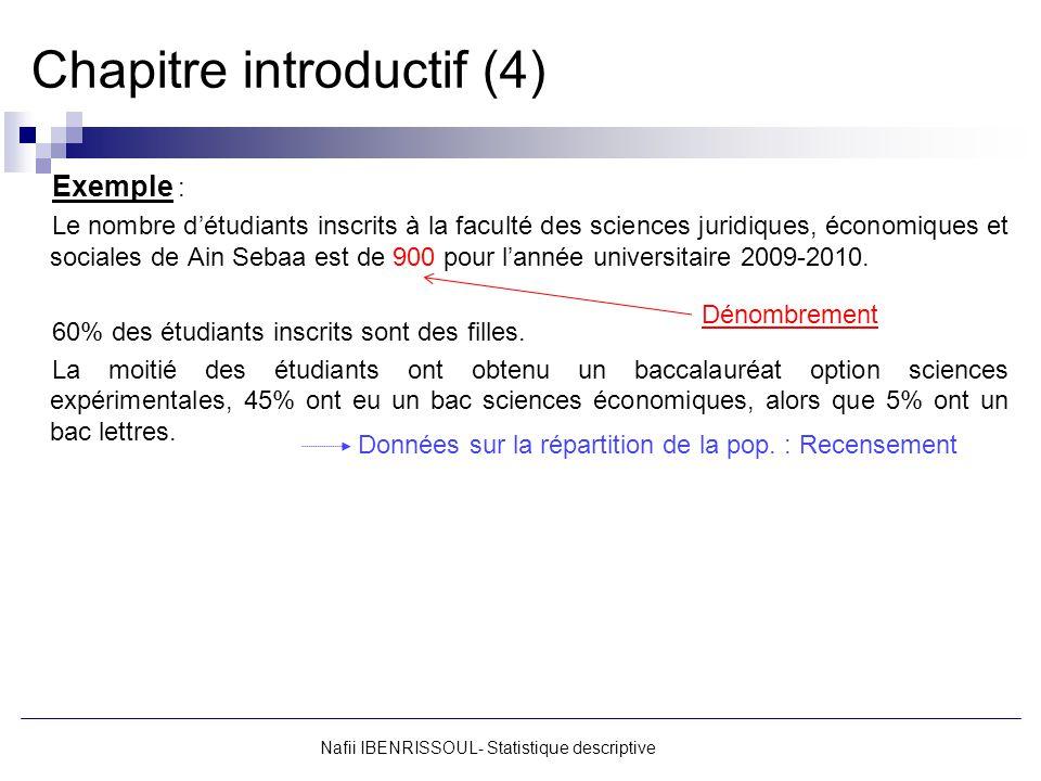 Chapitre introductif (4) Exemple : Le nombre détudiants inscrits à la faculté des sciences juridiques, économiques et sociales de Ain Sebaa est de 900