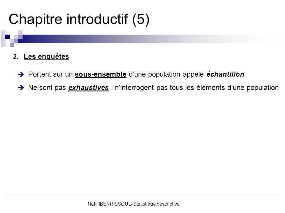 Nafii IBENRISSOUL- Statistique descriptive Chapitre introductif (16) Exemple 2 : Cas de classes damplitudes inégales (Salaires des employés de lentreprise « X » en DH) SalairesAmplitudesCentres c i [6000 – 7000[10006500 [7000 – 9000[20008000 [9000 – 12 000[300010 500 Chaque classe est caractérisée par : Borne inférieure Borne supérieure Amplitude (a i ) a i Centre (c i ) cici