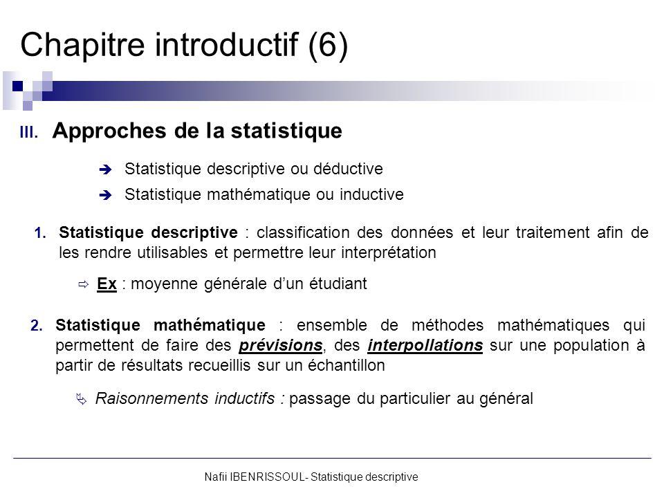Nafii IBENRISSOUL- Statistique descriptive Chapitre introductif (6) III. Approches de la statistique Statistique descriptive ou déductive Statistique