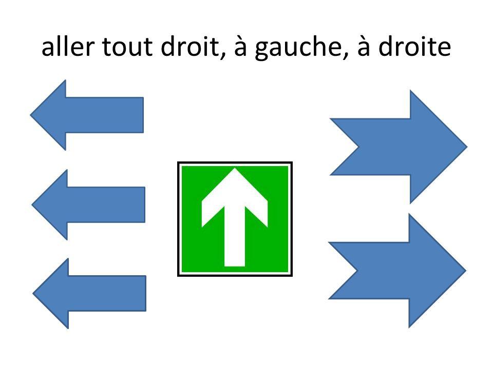 aller tout droit, à gauche, à droite
