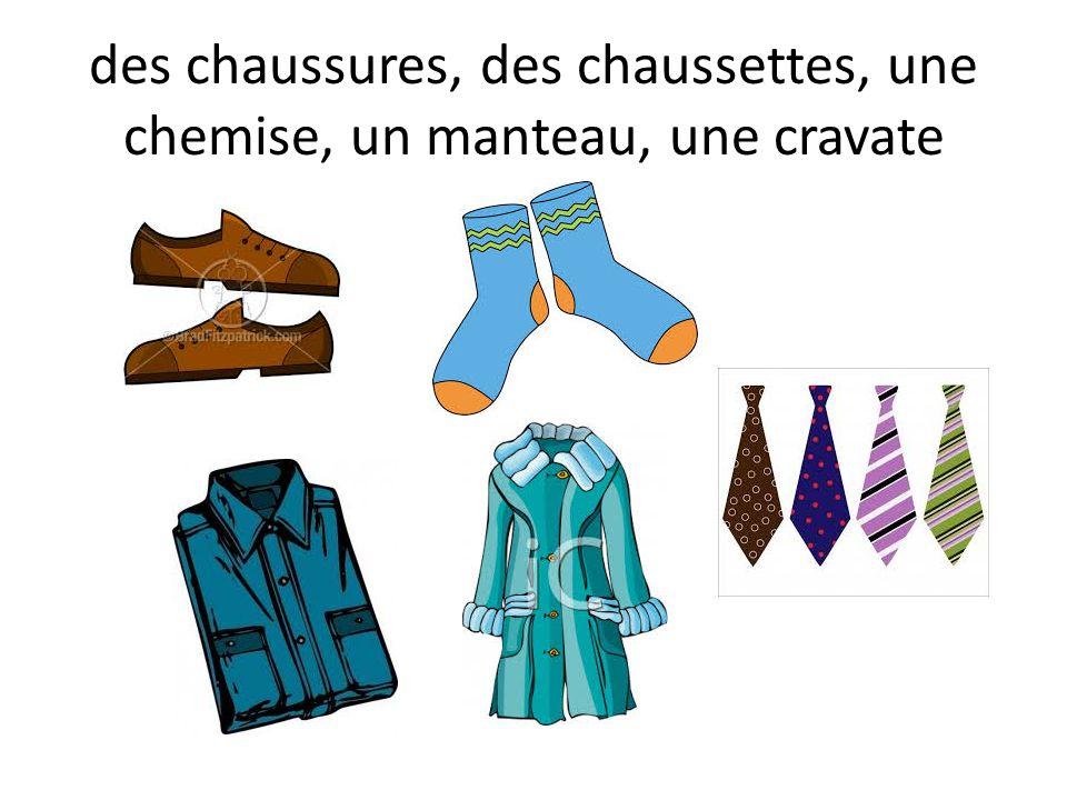 des chaussures, des chaussettes, une chemise, un manteau, une cravate