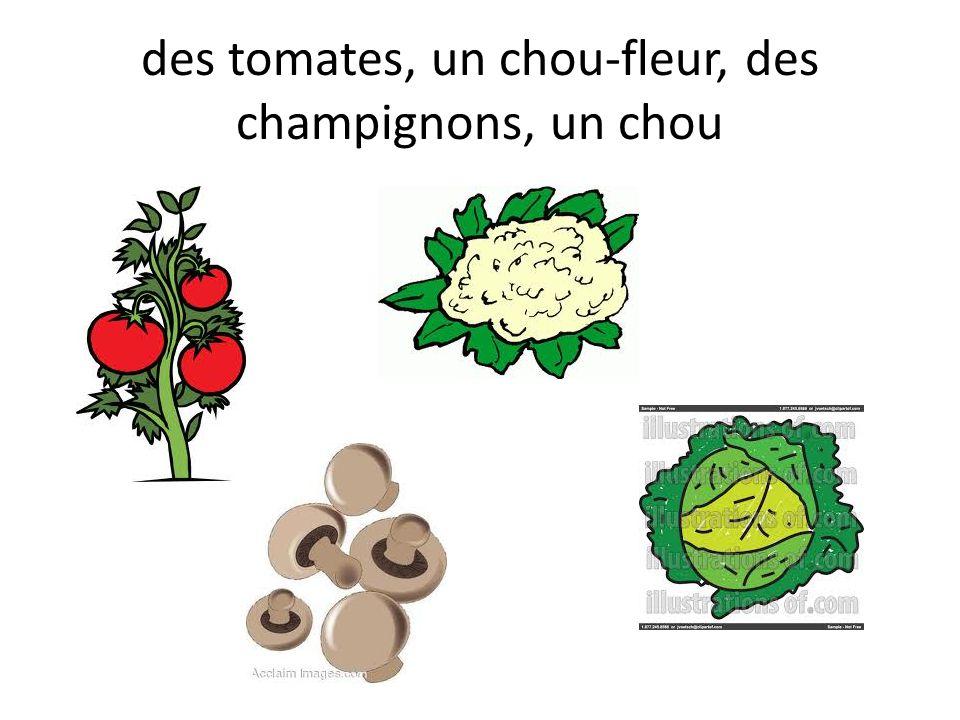 des tomates, un chou-fleur, des champignons, un chou