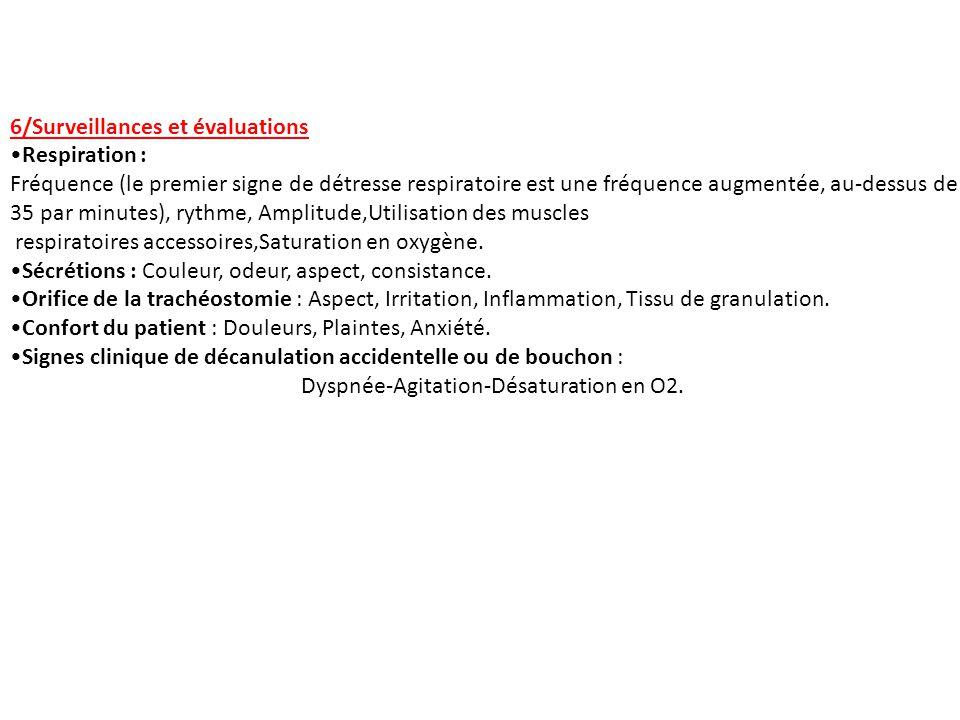 6/Surveillances et évaluations Respiration : Fréquence (le premier signe de détresse respiratoire est une fréquence augmentée, au-dessus de 35 par min