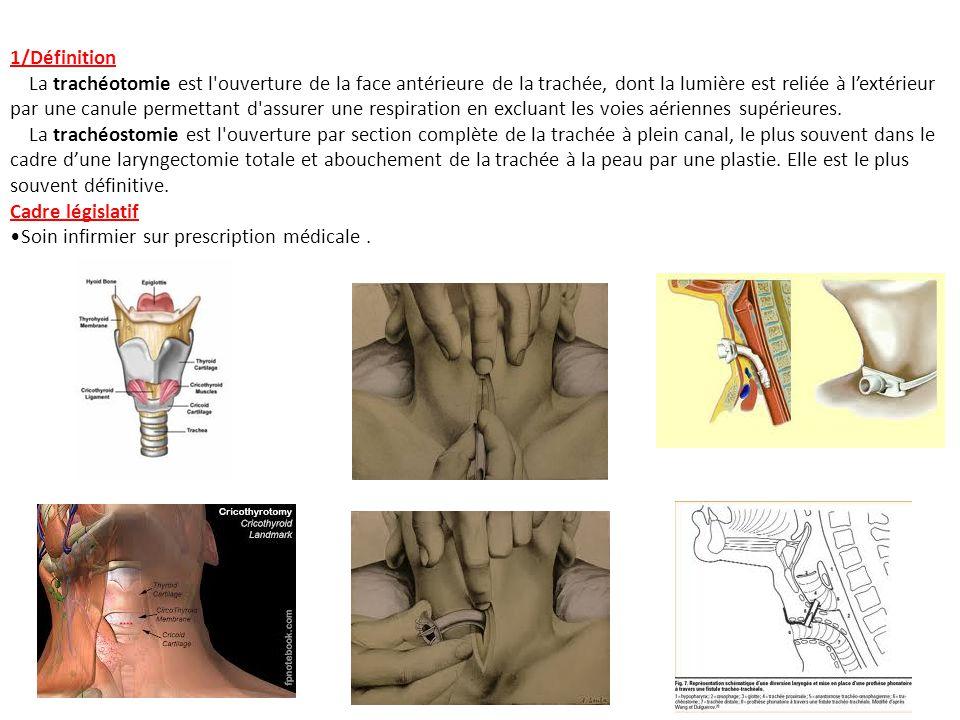 1/Définition La trachéotomie est l'ouverture de la face antérieure de la trachée, dont la lumière est reliée à lextérieur par une canule permettant d'