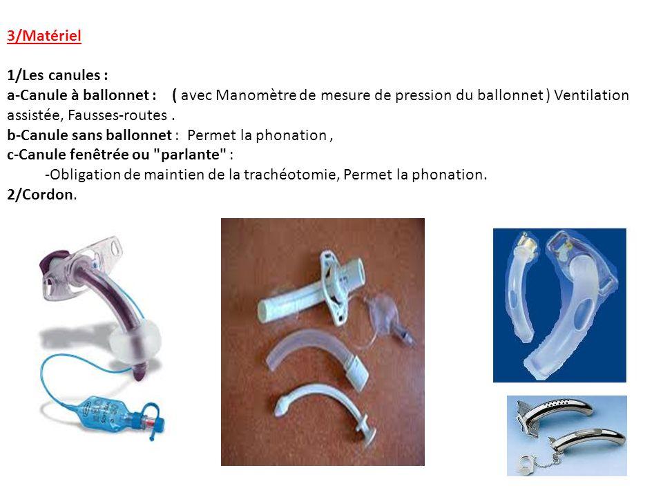 3/Matériel 1/Les canules : a-Canule à ballonnet : ( avec Manomètre de mesure de pression du ballonnet ) Ventilation assistée, Fausses-routes. b-Canule