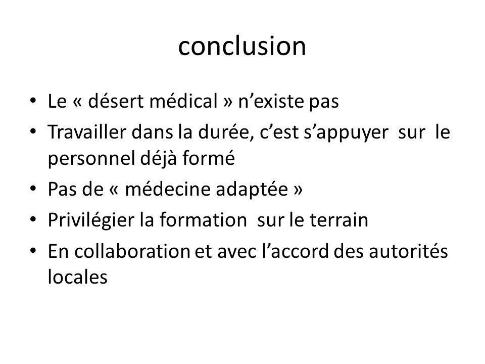conclusion Le « désert médical » nexiste pas Travailler dans la durée, cest sappuyer sur le personnel déjà formé Pas de « médecine adaptée » Privilégi