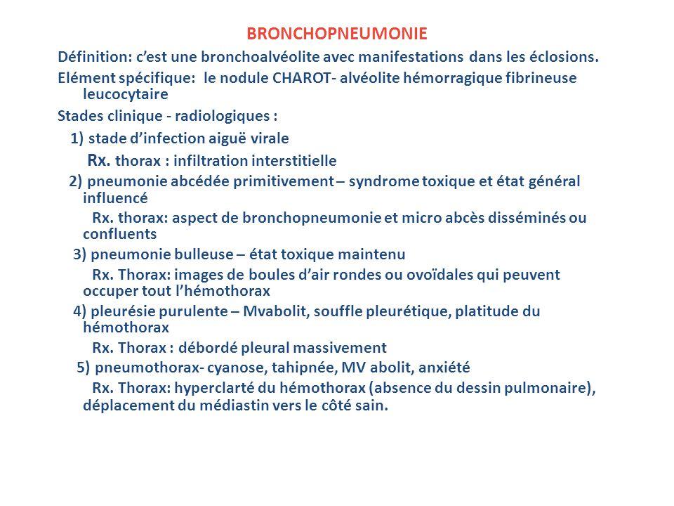 BRONCHOPNEUMONIE Définition: cest une bronchoalvéolite avec manifestations dans les éclosions.