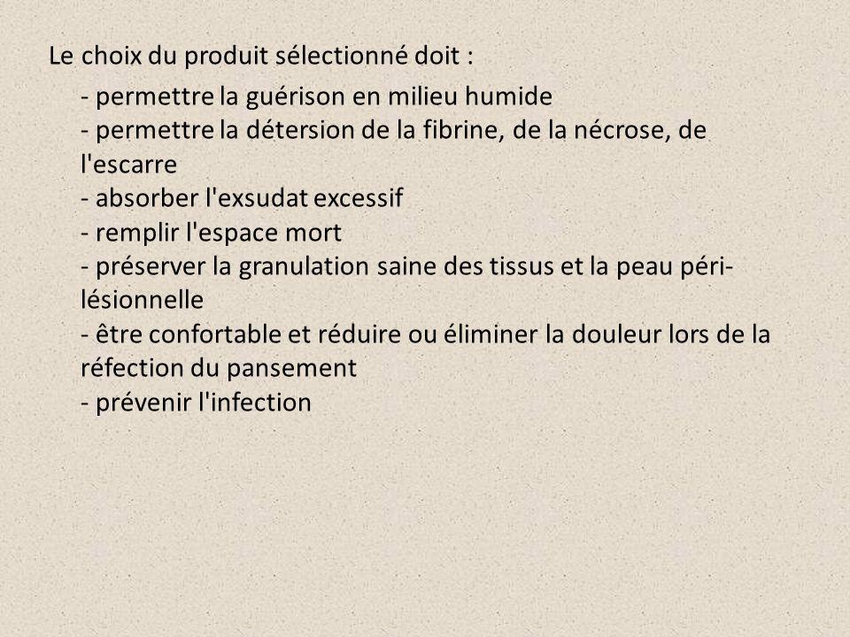 Le choix du produit sélectionné doit : - permettre la guérison en milieu humide - permettre la détersion de la fibrine, de la nécrose, de l'escarre -