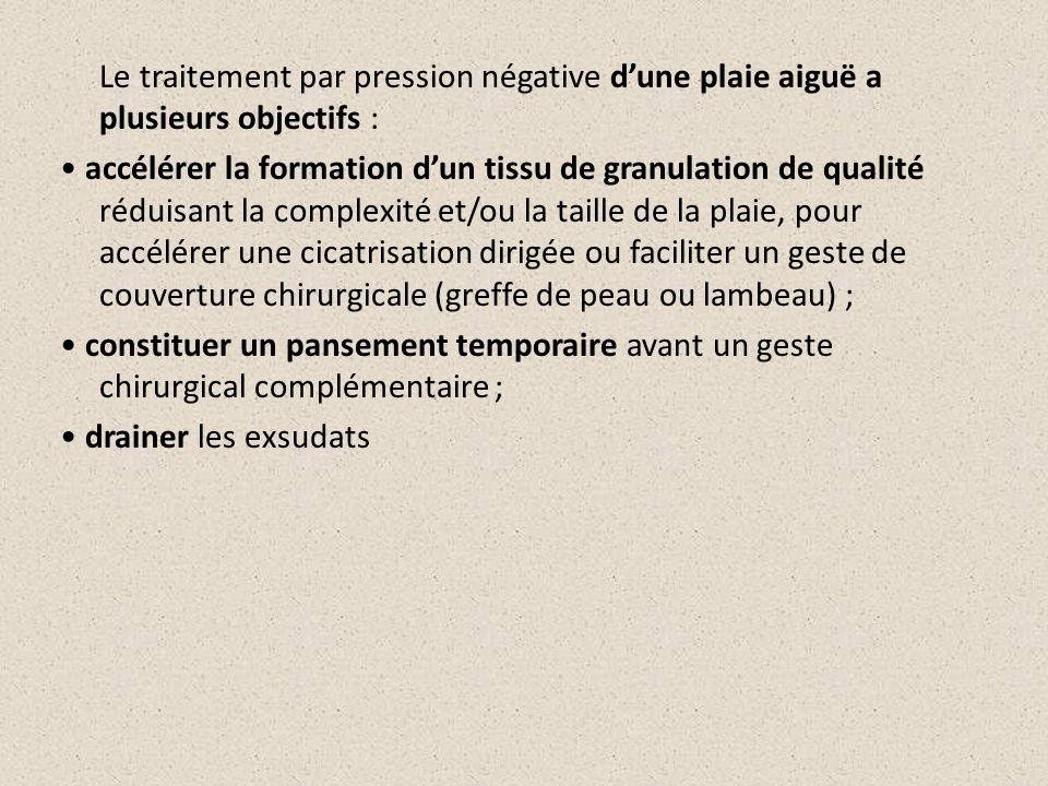 Le traitement par pression négative dune plaie aiguë a plusieurs objectifs : accélérer la formation dun tissu de granulation de qualité réduisant la c
