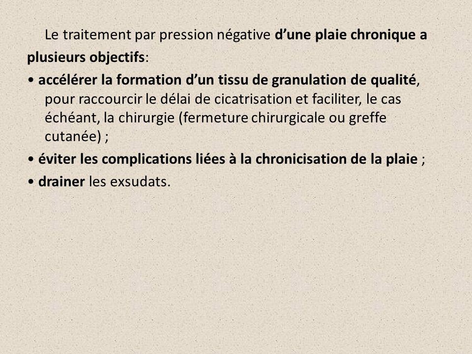 Le traitement par pression négative dune plaie chronique a plusieurs objectifs: accélérer la formation dun tissu de granulation de qualité, pour racco