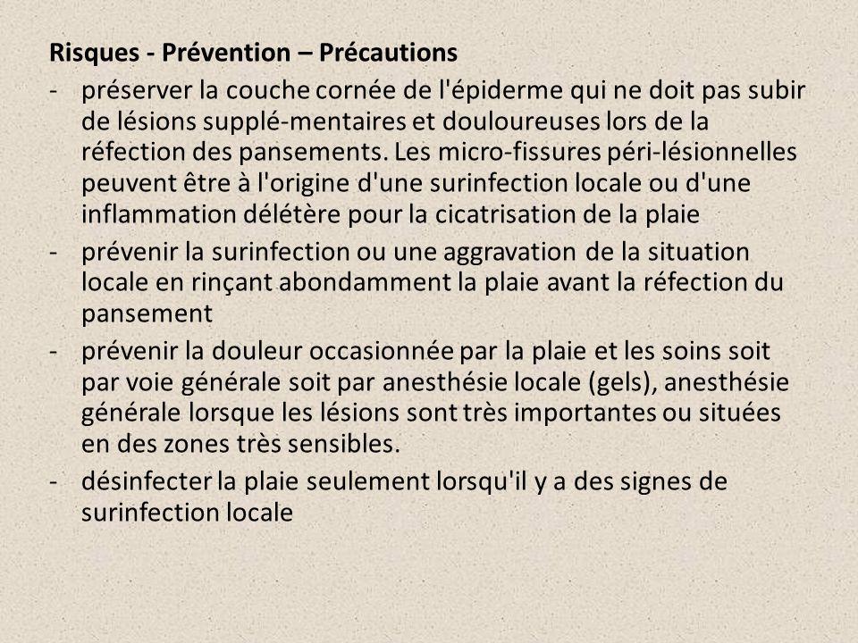 Risques - Prévention – Précautions -préserver la couche cornée de l'épiderme qui ne doit pas subir de lésions supplé-mentaires et douloureuses lors de