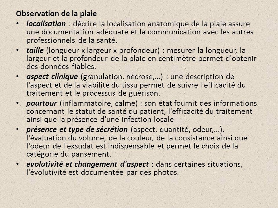 Observation de la plaie localisation : décrire la localisation anatomique de la plaie assure une documentation adéquate et la communication avec les a