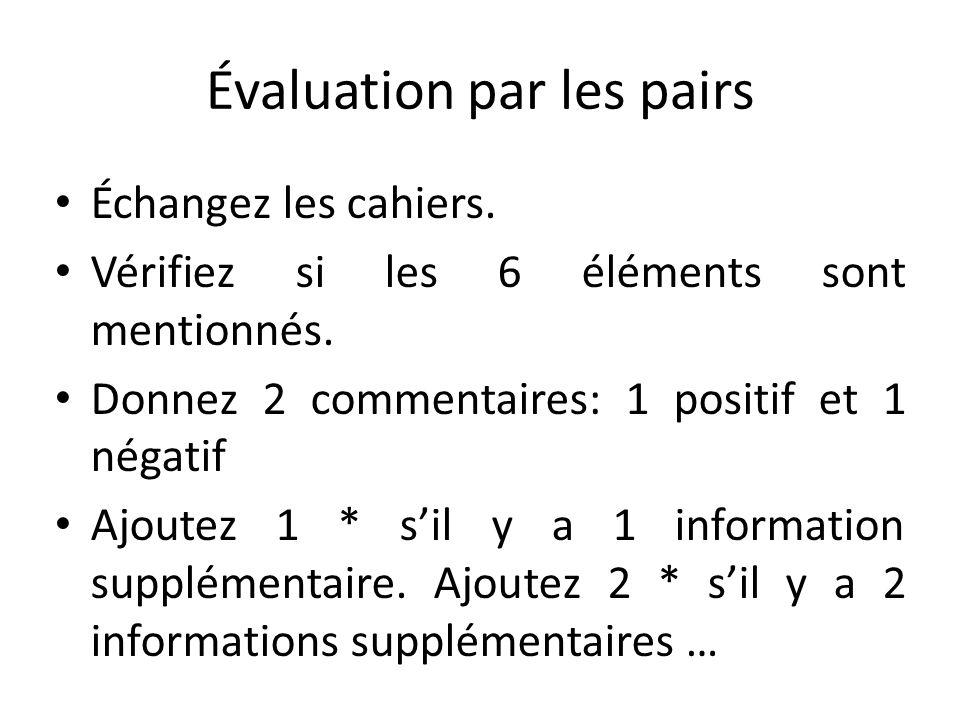 Évaluation par les pairs Échangez les cahiers. Vérifiez si les 6 éléments sont mentionnés. Donnez 2 commentaires: 1 positif et 1 négatif Ajoutez 1 * s