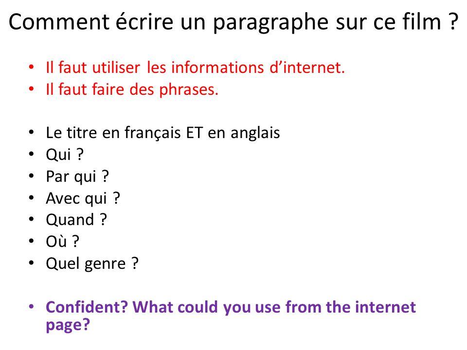 On écrit un paragraphe pour présenter Twilight Le titre en français ET en anglais Par qui .