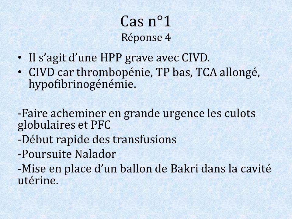 Cas n°1 Réponse 4 Il sagit dune HPP grave avec CIVD. CIVD car thrombopénie, TP bas, TCA allongé, hypofibrinogénémie. -Faire acheminer en grande urgenc