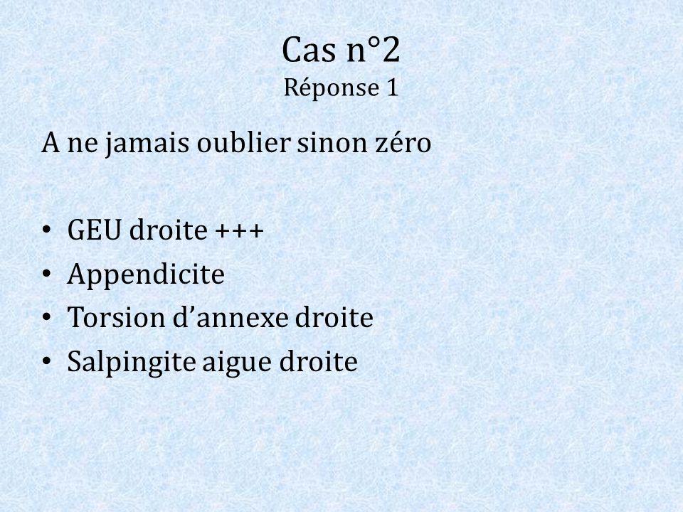 Cas n°2 Réponse 1 A ne jamais oublier sinon zéro GEU droite +++ Appendicite Torsion dannexe droite Salpingite aigue droite