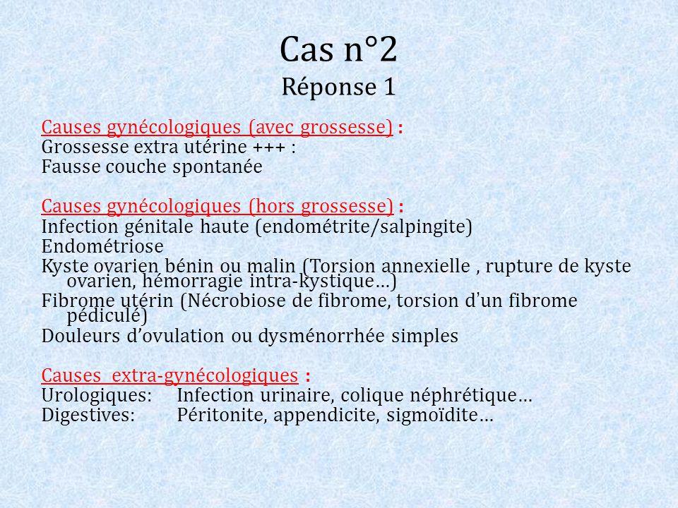 Cas n°2 Réponse 1 Causes gynécologiques (avec grossesse) : Grossesse extra utérine +++ : Fausse couche spontanée Causes gynécologiques (hors grossesse
