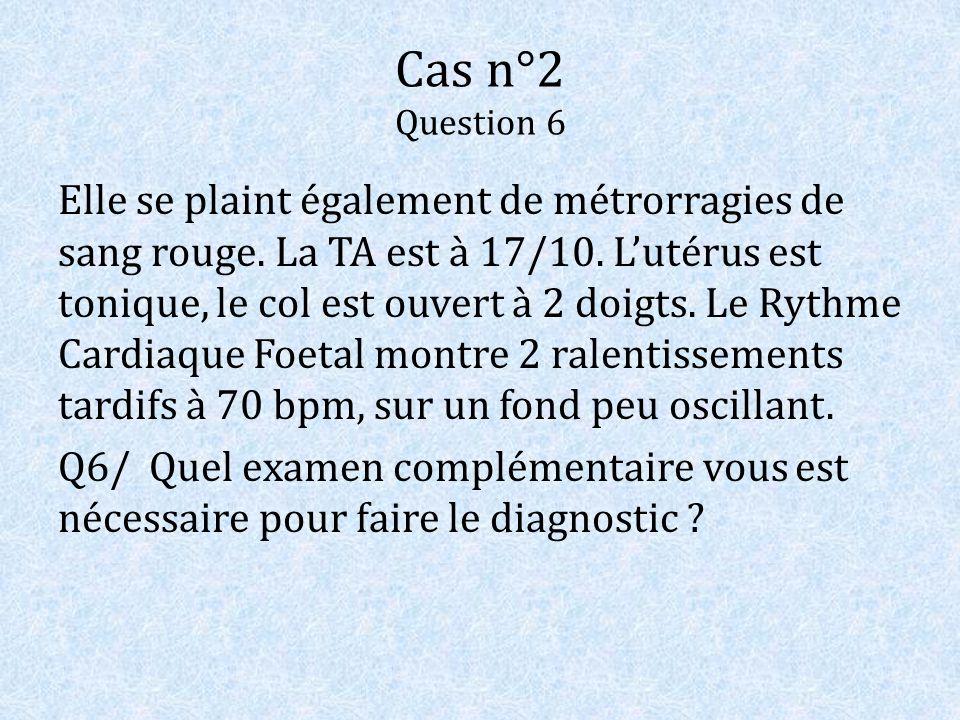 Cas n°2 Question 6 Elle se plaint également de métrorragies de sang rouge. La TA est à 17/10. Lutérus est tonique, le col est ouvert à 2 doigts. Le Ry