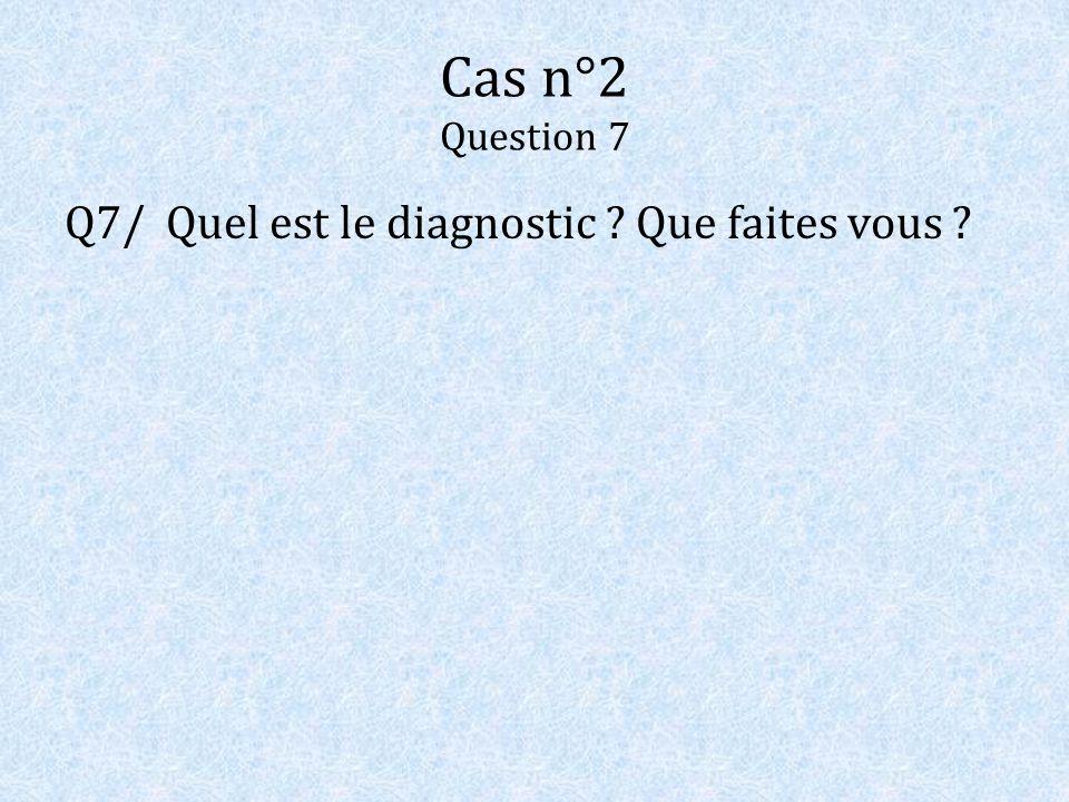 Cas n°2 Question 7 Q7/ Quel est le diagnostic ? Que faites vous ?