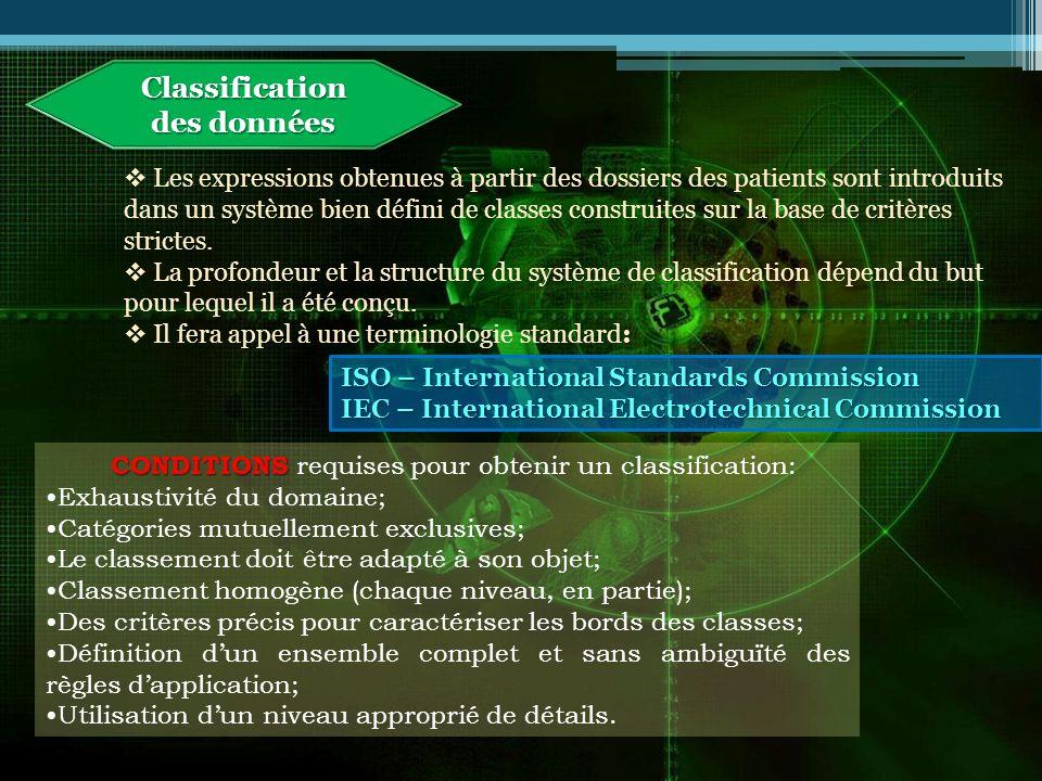 Classification des données Les expressions obtenues à partir des dossiers des patients sont introduits dans un système bien défini de classes construites sur la base de critères strictes.