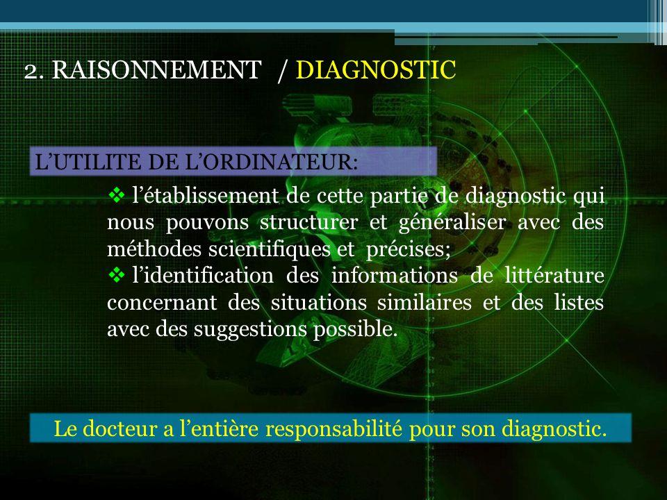 2. RAISONNEMENT / DIAGNOSTIC LUTILITE DE LORDINATEUR: létablissement de cette partie de diagnostic qui nous pouvons structurer et généraliser avec des