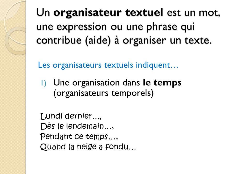 Un organisateur textuel est un mot, une expression ou une phrase qui contribue (aide) à organiser un texte. 1) Une organisation dans le temps (organis