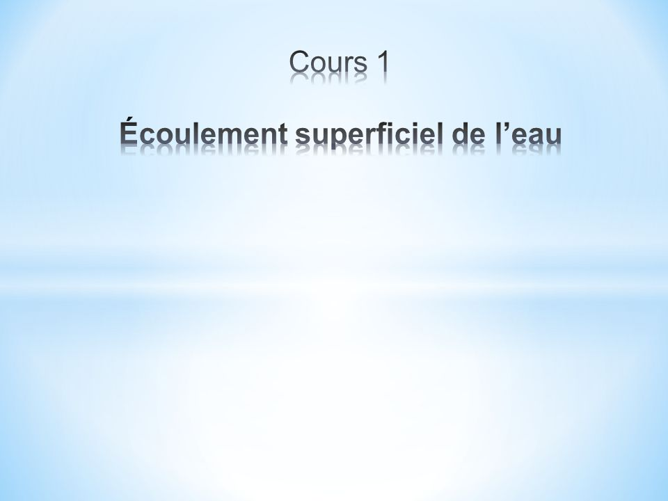 3.1 Processus Phase 1: intensité < capacité d infiltration du sol précipitations totalement infiltrées Phase 2 : surface du sol saturée Écoulement de surface.