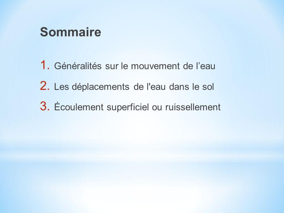 Sommaire 1.Généralités sur le mouvement de leau 2.