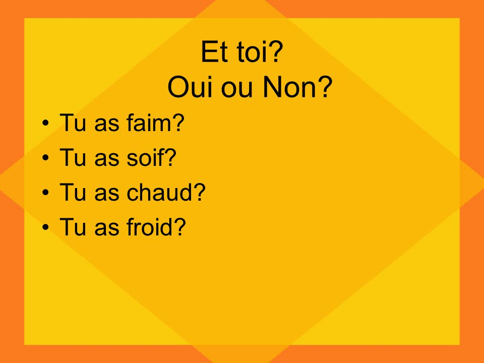 Et toi? Oui ou Non? Tu as faim? Tu as soif? Tu as chaud? Tu as froid?